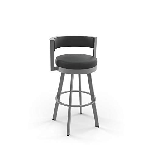 Amisco Browser Swivel Stool (Glossy Grey Metal Charcoal Black, Counter Height) Amisco Kitchen Bar Stools