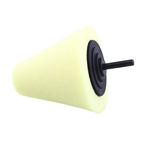 shengerm Burnishing Foam Sponge Polishing Cone Shaped Buffing Pads for Car Automotive Wheel Hub Steel Ring Yellow Hard - Buffing Cone Pad Shaped