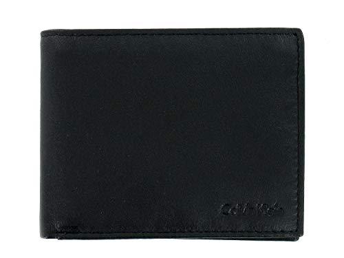 Calvin Klein Men's Black Smooth Genuine Leather | ID Holder | Bi-Fold Wallet