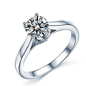 Sterling Silver Floral Ring - Sreema London 925 Sterling Silver Round Cut Floral Wedding Rings P