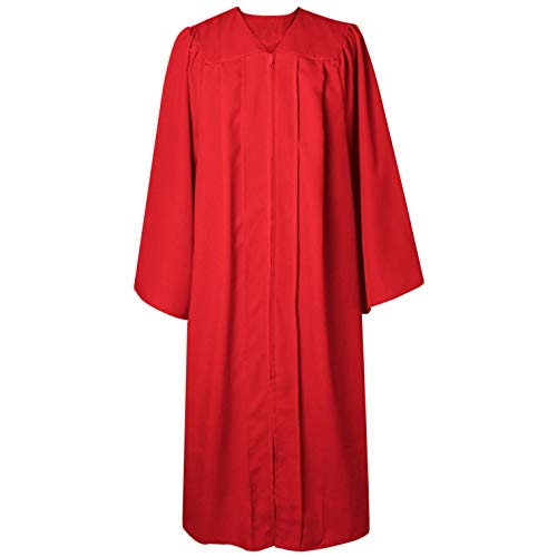 (GGS Unisex Adult Choir Robe Matte Confirmation Christening Attire for Clergy Religious Baptism/Church Activities Red)