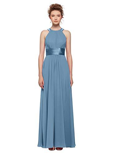 AW Women's Bridesmaid Dresses Long Jewel Neck Prom Dresses 2019 Chiffon Evening Formal Dresses, Dusty Blue, - Neck Jewel Blue