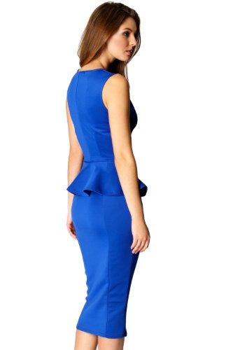 made2envy Bodycon Midi Peplum Dress with Square Neckline