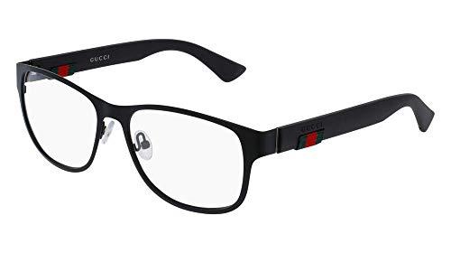 Gucci GG 0013O 001 Black Metal Square Eyeglasses ()