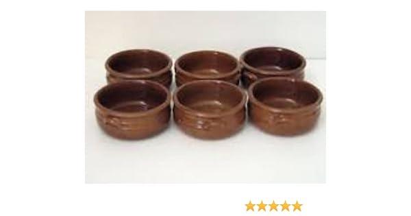 Juego de 6 cazuelas de cerámica rústica, diámetro 13 cm: Amazon.es ...