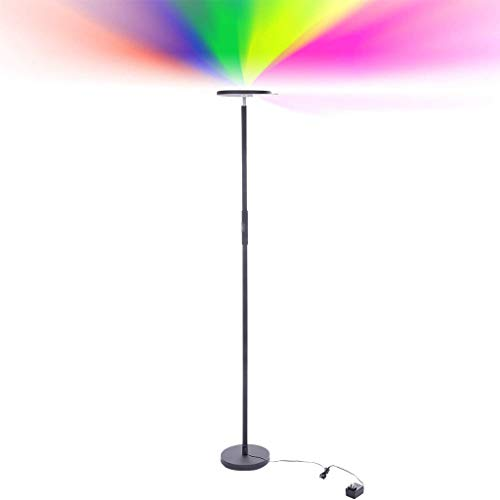 (Maikouhai Color Changing LED Floor Lamp Dimmable Light Remote Control Via Android and iOS APP for Bedroom, Living Room, Study, Office, Black)