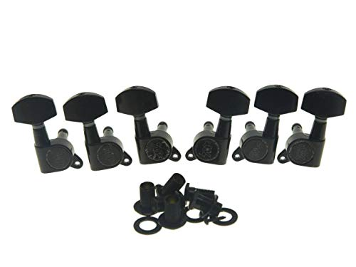 Wilkinson 3L3R Black E-Z-LOK Post Guitar Tuners EZ Post Guitar Tuning Keys Pegs Machine Heads for Acoustic Guitars