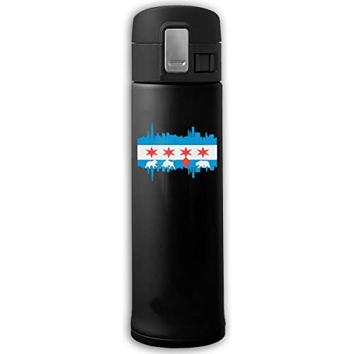Stainless Steel Vacuum Flask Chicago Flag Skyline Bear Water Bottle With Bounce Cover Black ()