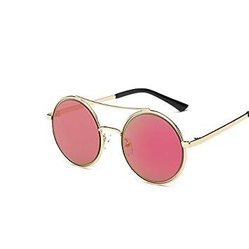 Tocoss (TM) Lunettes de soleil pour femme rond Marque Designer Lunettes de soleil pour homme femme Miroir de luxe Noir mâle Lunettes de soleil femelle Oculos de sol, Gold Frame Purple