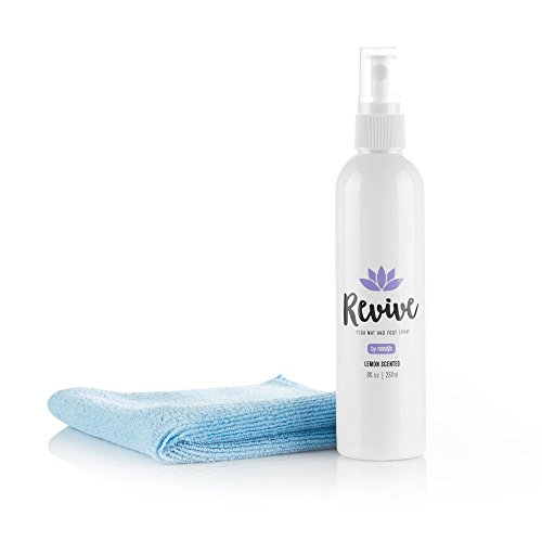 - (8oz) 'Revive' Yoga Mat Spray & Foot Cleaner - Includes FREE Microfiber Cleaning Towel - Natural Organic Yoga Mat Cleaner Plus Foot Spray (Lemon Scent)