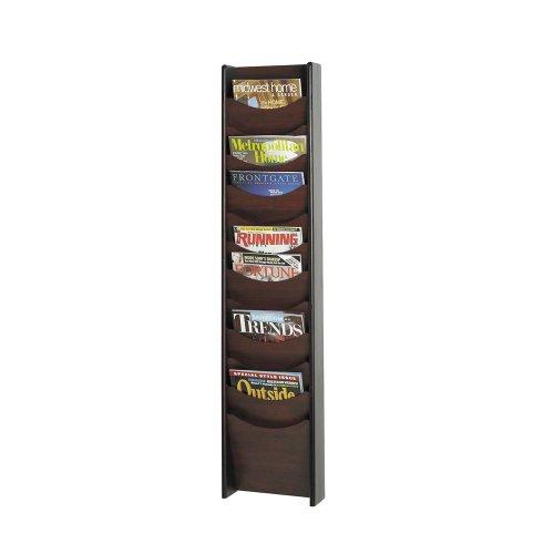 Safco Home Office Furniture 12-Pocket Wood Magazine Rack Mahogany 11.25