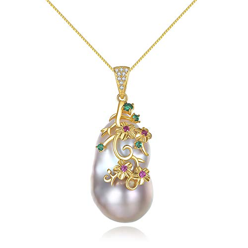 YANGLAN Shaped Baroque Pearl Necklace Women, 925 Silver and Pearl Pendant Long Chain Jewelry, Geometric Freshwater Pearl Gold Plated Clavicle Chain, Dress Accessories, Gifts Gold