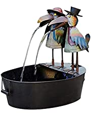 JSDS 7'' Tall Outdoor Metal Crow Water Fountain Yard Art Decoration Outdoor Metal Crow Water Fountain Yard Art Decor Outdoor Water Fountain for Garden, Patio, Deck, Porch-Yard Art Decor