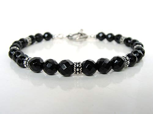 (Black onyx toggle bracelet, faceted onyx sterling silver, 7.5 inches, classic anytime bracelet, handmade Let Loose)