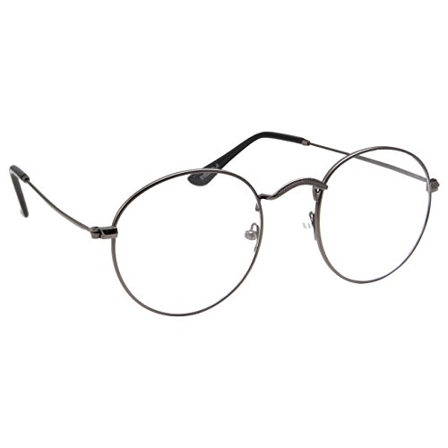 a63e9bc7a9a Amazon.com  Retro Round Clear Lens Glasses Metal Frame - Gunmetal  Clothing