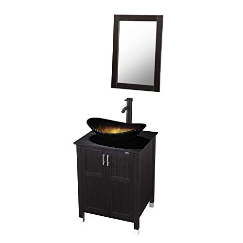 Modern Bathroom Vanity and Sink Combo Stand Cabinet with Vanity Mirror,Single MDF Cabinet with Glass Vessel Sink Round Bowl