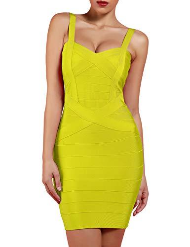 UONBOX Women's Rayon Cute Sleeveless Bodycon Bandage Strap Dress Yellow L