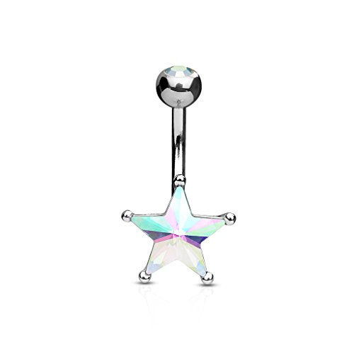 Crystal Star Belly Button Ring in 316L Stainless Steel - Available in Multiple Colors (Aurora Borealis)