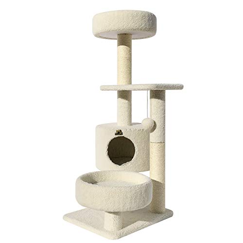Beige ZMMAFat cat's nest durable cat scratch pillar sisal pillar,Flour rice