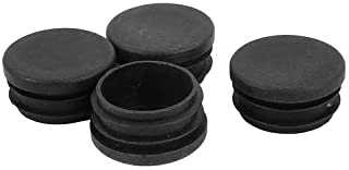 uxcell Plastic Round Table Blanking End Cap Cover Pipe Tube Insert 40mm Dia 4pcs Black