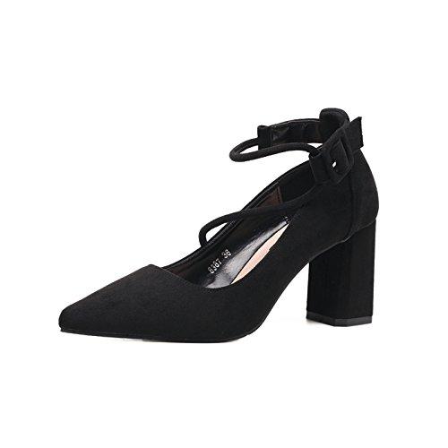 ZXMXY Mujer Banda Ankle Block Heal Sandals Mujeres DE Verano Strappy Hebilla Party Shoes Talla 35-39 Sandalias al Aire Libre Negro