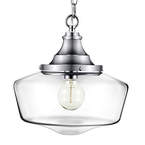 Pendant Light, Morden Fort Single CLoseing Glass Pendant Light Polished Nickel Light for Living Room/Bed Room/Dining Room
