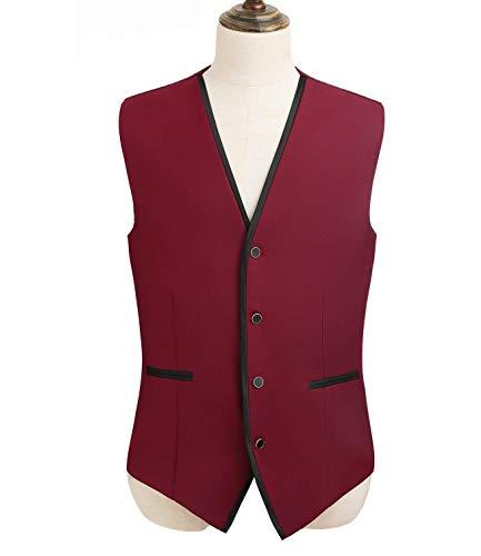 Monopetto S Slim Giacche Vest Tuxedo color Size V Senza Capispalla Maniche A Fit Scollo Bianca Jacket Da Uomo Tuta qwUERO4