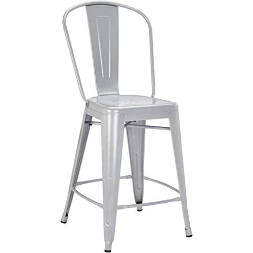 Pioneer Square Corliss 24-Inch Counter-Height Metal Stool with Back Rest, Set of 4, Jet Gray ()