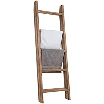 MyGift Wall-Leaning Dark Brown Wood Towel Ladder Rack