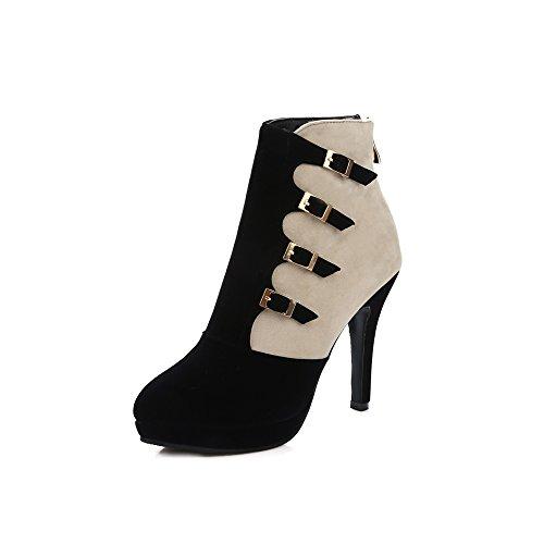Meotina Mujer Botines Plataforma Tacones Altos Hebilla Zapatos Cremallera Calzado FeHombresino Negro