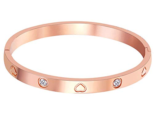 Price comparison product image MVCOLEDY Jewelry Rose Gold Plated Bangle Bracelet Stone Stainless Steel Heart Crystal Bangle Bracelets for Women Jewelry Size 6.7""