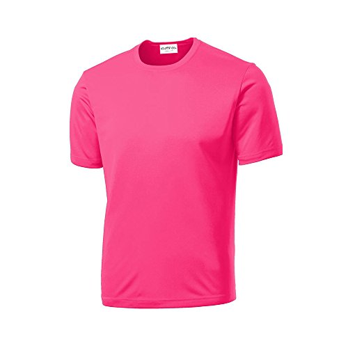 (Clothe Co. Mens Short Sleeve Moisture Wicking Athletic T-Shirt, Neon Pink,)