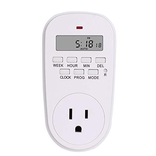Electric 7 Day Weekly Programmable Digital Timer,US plug (220 Volt 20 Amp Plug In Timer)