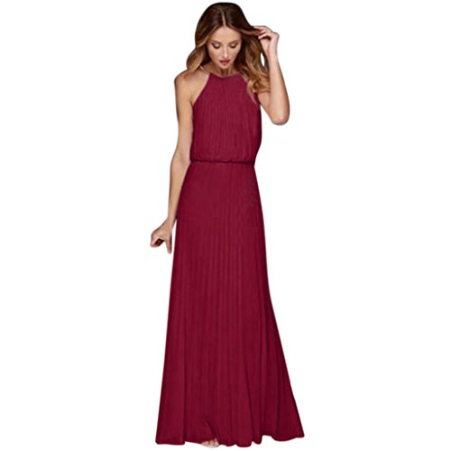 JJLOVER Formal Halter Empire Waist Sleeveless Solid ChiffonLong Maxi Dress Casual Evening Party Spring Summer Beach Club Wedding Dress (Wine, L) ()