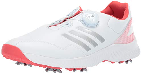 - adidas Womens Response Bounce BOA Golf Shoe FTWR White/Silver Metallic/Real Coral 8 M US