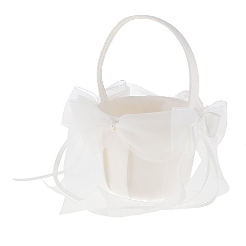Homyl Beige Satin Flower Girls Basket with Large Organza Bows Ribbons 21x22cm -