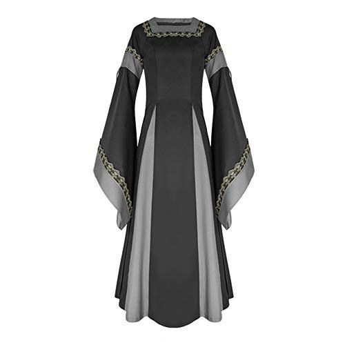 iLOOSKR Royal Dress for Women Medieval Dress Flare Sleeve Vintage Renaissance Long Dress Black -