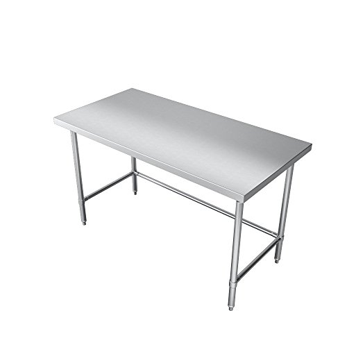 Elkay Foodservice Chef's Choice Work Table, 30''X108'' OA, 36'' Working Height, Flat Top, Cross Brace, Turned Down Table Edge, Stainless Legs With Adjustable 1'' Feet, 16 Gauge 300 Series Stainless Steel, NSF Certified by Elkay Foodservice (Image #4)