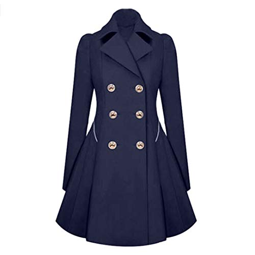 Fanteecy Women's Classic Double Breasted Coat - Winter Wool Trench Coat Double Breasted Long Pea Coat Work Blazer (S, Dark Blue-NO Belt)