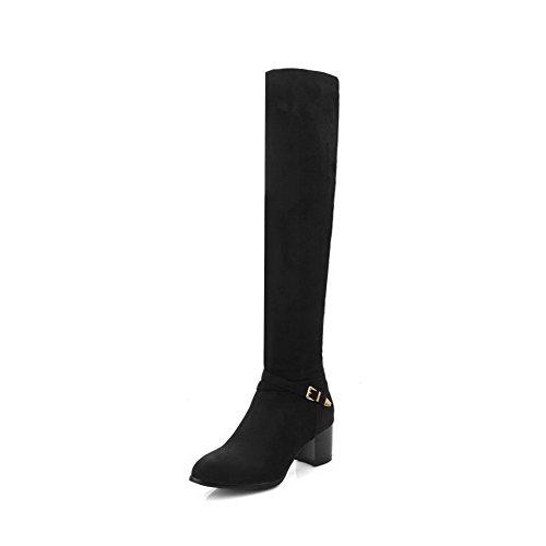 Agoolar Femme Matériau Souple Pointu Bout Fermé Solide Haut-haut Kitten-talons Bottes Noir