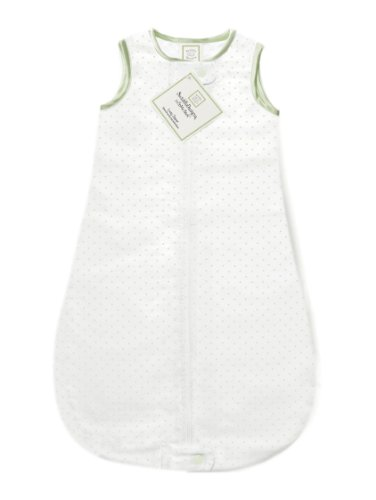 SwaddleDesigns Cotton Sleeping Sack with 2-Way Zipper, Made in USA, Premium Cotton Flannel, Kiwi Polka Dots, 12-18MO