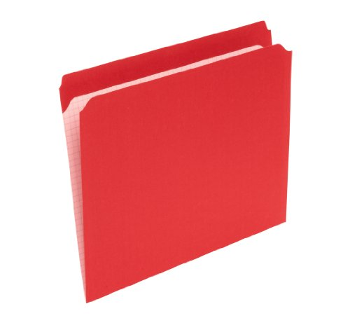 Pendaflex R152RED 2-Ply, Reinforced, File Folders, Straight Cut, Top Tab, Letter Size, Red, 100 per Box