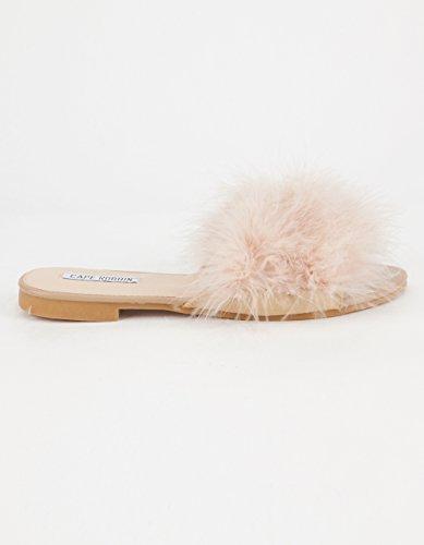 Cape Robbins Sandaler-1 Kvinnor Flip Flop Päls Slide Slip På Flats Sandaler Skor Tofflor Mule Naken