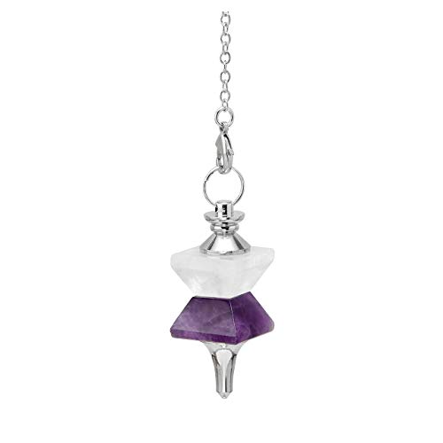 Top Plaza Natural Gemstone Amethyst Clear Quartz Crystal Divination Dowsing Faceted Pendulum Necklace Reiki Chakra Healing Balancing Funnel Pointed Pendant