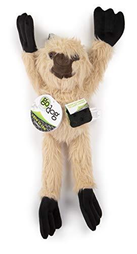 (goDog Crazy Tugs Fuzzy Sloth with Chew Guard Technology Plush Dog Toy, Tan)