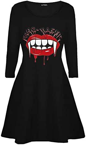 charmsamx Women's Long Sleeve Casual Dress Halloween Horror Mouth Blood Printed Costume Swing Dress A-line Flared Party Midi Dress Vintage Funny Party Dresses