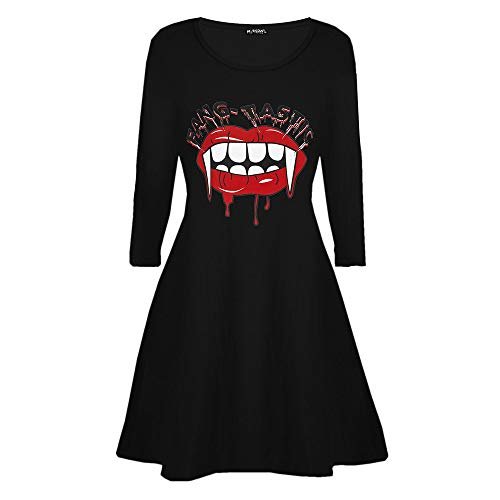 HANANei Halloween Dress Women's Casaul Vampire Horror Blood Printed Costume Swing Dress (XL) -