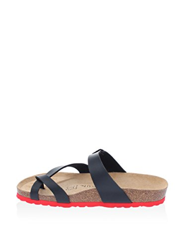 Backsun Flip Flops/Sandalen–Barcelona Damen schwarz matt Sohle rot–schwarz