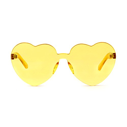 Love Heart Shape Sunglasses Women Rimless Frame Colorful SunGlasses by ADEWU (Image #6)