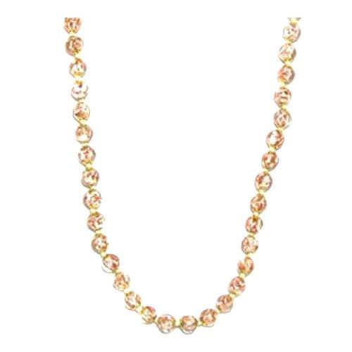 Genuine Venice Murano Sommerso Aventurina Glass Bead Long Strand Necklace in White, 26+2